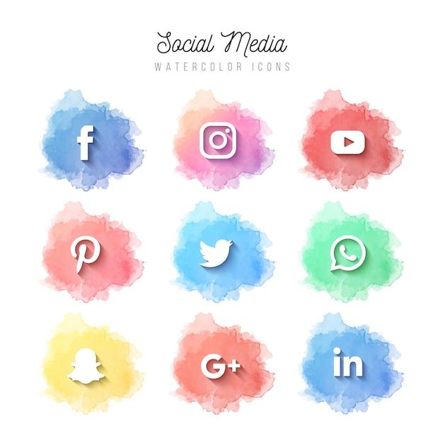 Aquarell social media icons Kostenlosen Vektoren