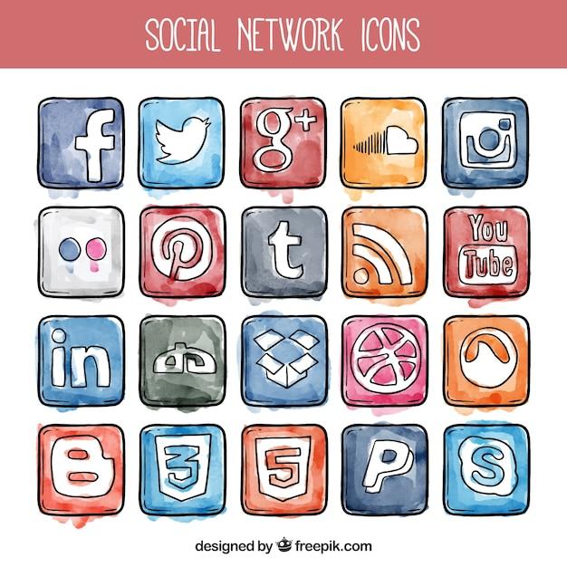 Aquarell social network icons Kostenlosen Vektoren