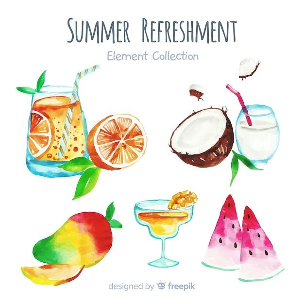 Aquarell-sommer-element-sammlung Kostenlosen Vektoren
