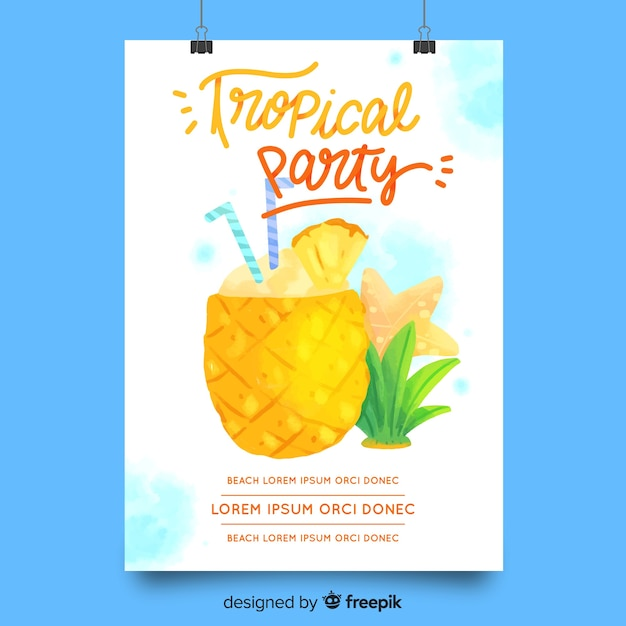Aquarell sommerfest plakat vorlage Kostenlosen Vektoren