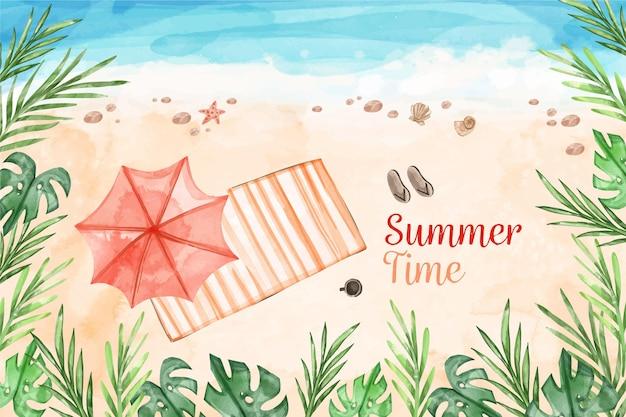 Aquarell sommerhintergrund Premium Vektoren