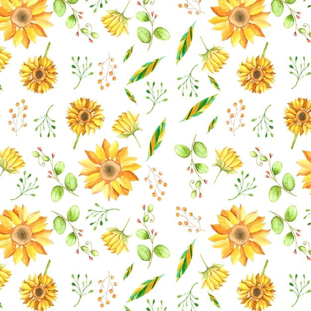 Aquarell sonnenblume hintergrund Premium Vektoren