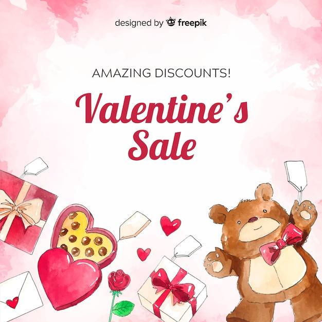 Aquarell stellt valentinsgrußverkaufshintergrund dar Kostenlosen Vektoren