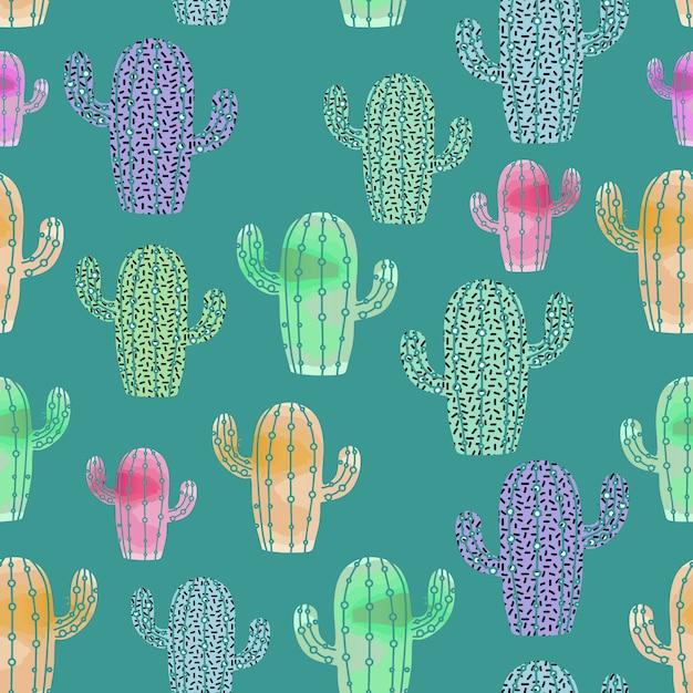 Aquarell-stil des kaktus-muster Premium Vektoren