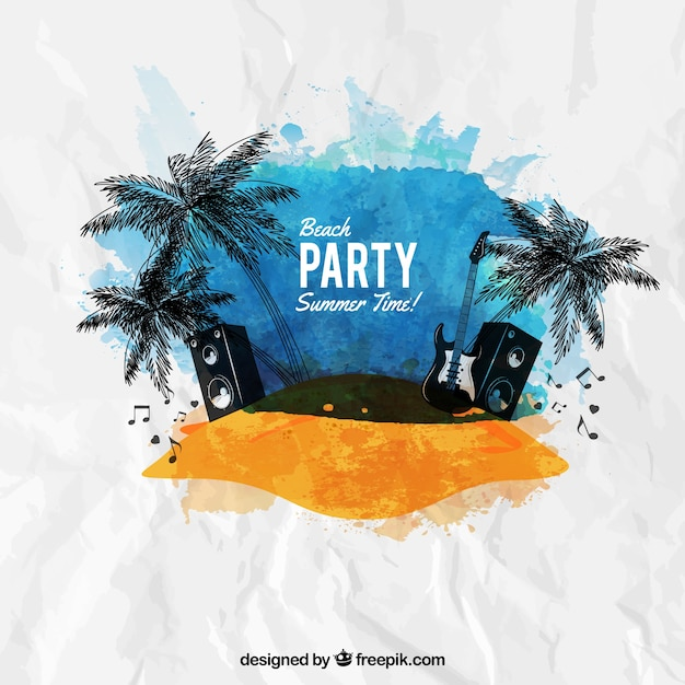 Aquarell-Strand-Party-Plakat | Download der kostenlosen Vektor