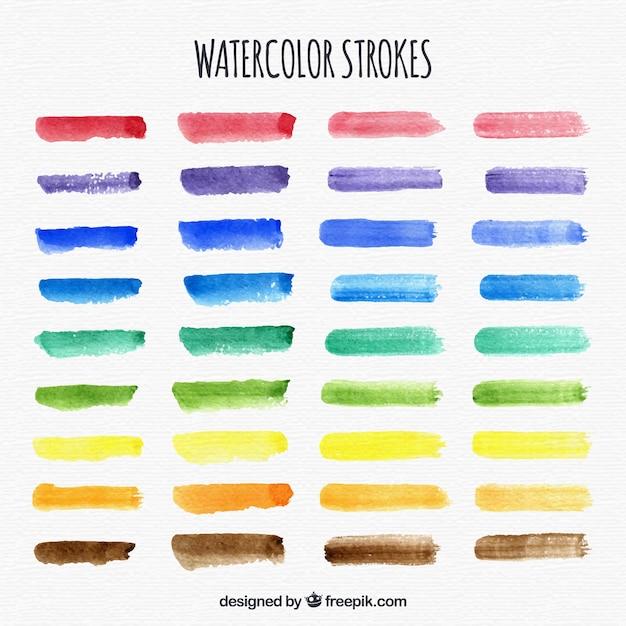 Aquarell streicht sammlung mit vielen farben Kostenlosen Vektoren