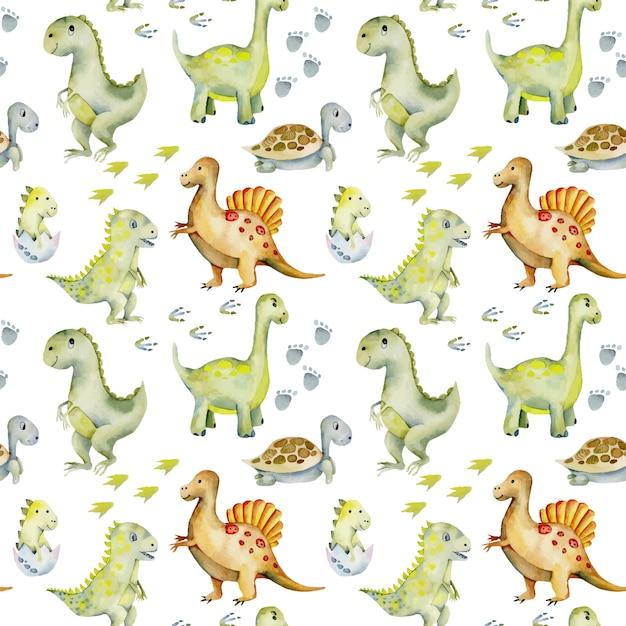 Aquarell süße dinosaurier, schildkröten und baby dino nahtlose muster Premium Vektoren