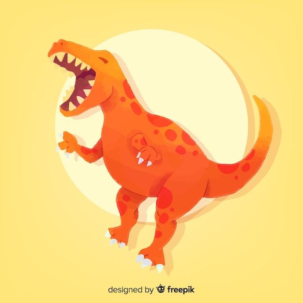 Aquarell t-rex dinosaurierhintergrund Kostenlosen Vektoren