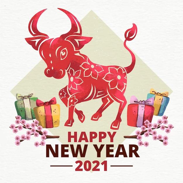 Aquarell têt (vietnamesisches neujahr) Premium Vektoren