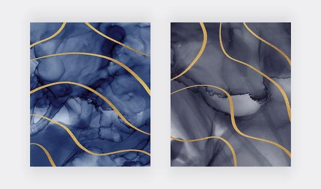 Aquarell textur mit goldenen glitzerlinien Premium Vektoren