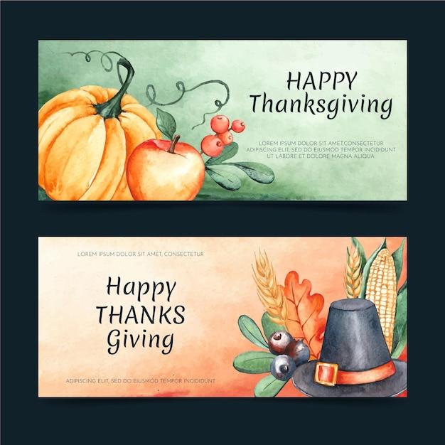 Aquarell thanksgiving banner gesetzt Kostenlosen Vektoren