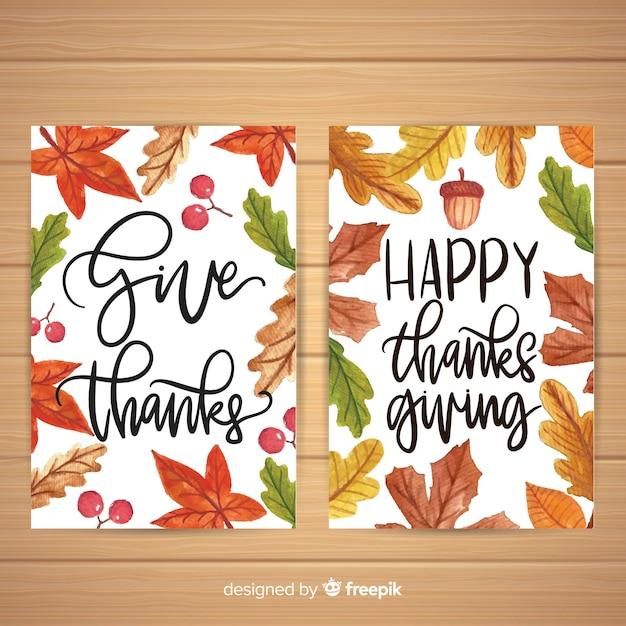 Aquarell thanksgiving day kartensammlung Kostenlosen Vektoren