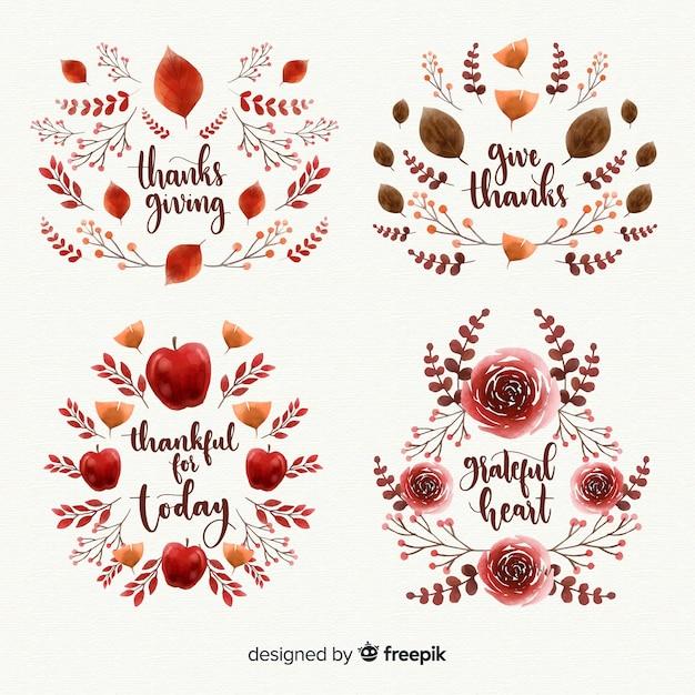 Aquarell thanksgiving day label sammlung Kostenlosen Vektoren