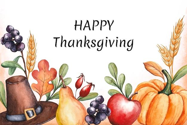 Aquarell thanksgiving hintergrund mit ernten Premium Vektoren