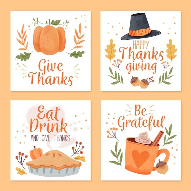 Aquarell thanksgiving instagram beiträge Kostenlosen Vektoren