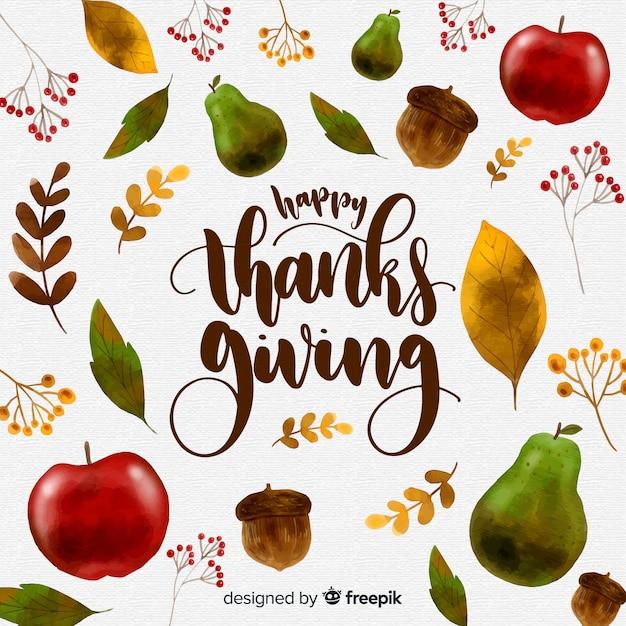 Aquarell thanksgiving tag hintergrund Kostenlosen Vektoren