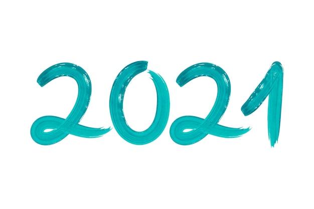 Aquarell türkis pinselstrich neujahr 2021 hintergrund Kostenlosen Vektoren