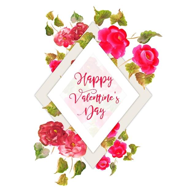 Aquarell Valentine Floral Frame Kostenlose Vektoren