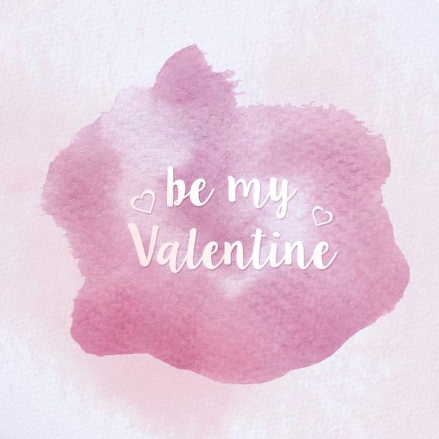 Aquarell Valentinstag Stempel. Valentinstag Nachricht Auf Aquarell Textur.  Premium Vektoren