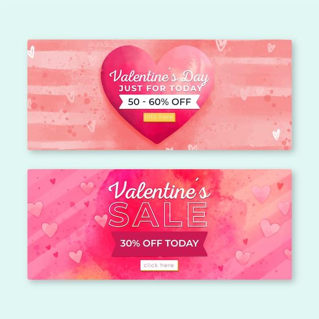 Aquarell valentinstag verkauf banner Kostenlosen Vektoren
