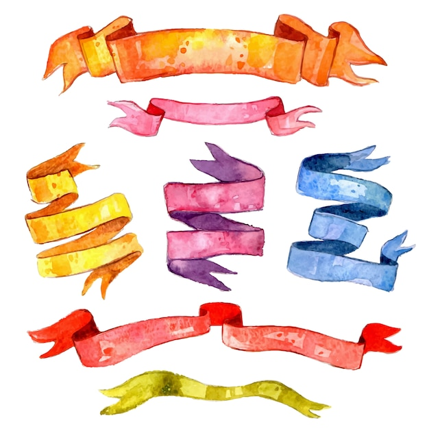 Aquarell vintage ribbon set Kostenlosen Vektoren