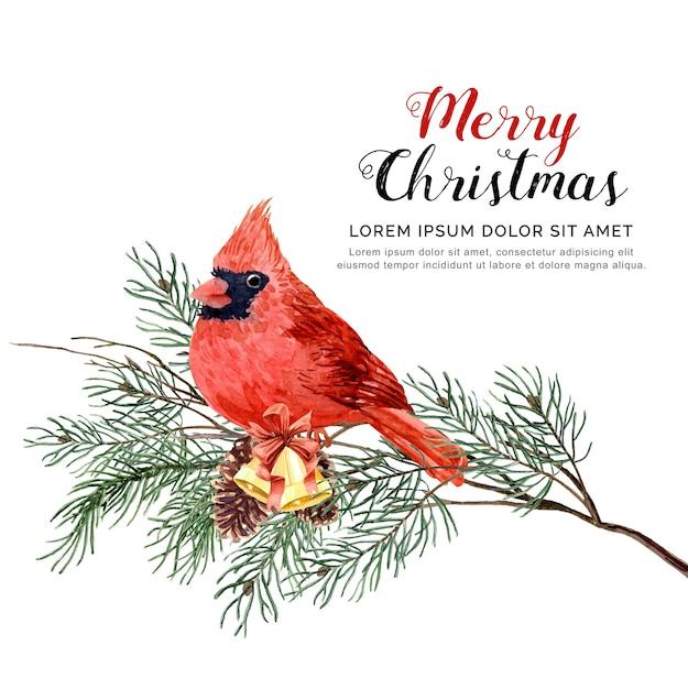 Aquarell vogel weihnachten mit kiefer und glocke. Premium Vektoren