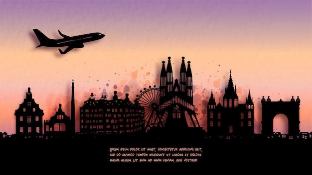 Aquarell von barcelona, spanien silhouette skyline und berühmtes wahrzeichen. Premium Vektoren