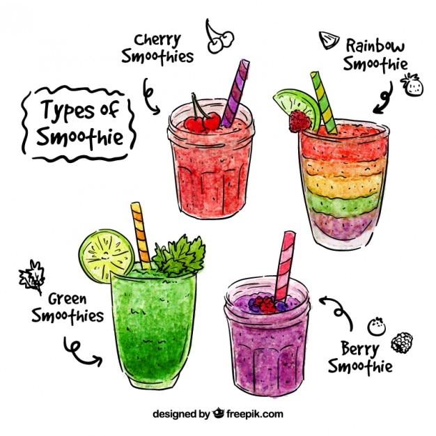 Aquarell von hand gezeichnet frucht-smoothie Kostenlosen Vektoren