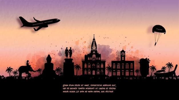 Aquarell von phuket, thailand silhouette skyline und berühmtes wahrzeichen .. Premium Vektoren