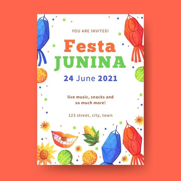 Aquarell vorlage festa junina flyer Kostenlosen Vektoren