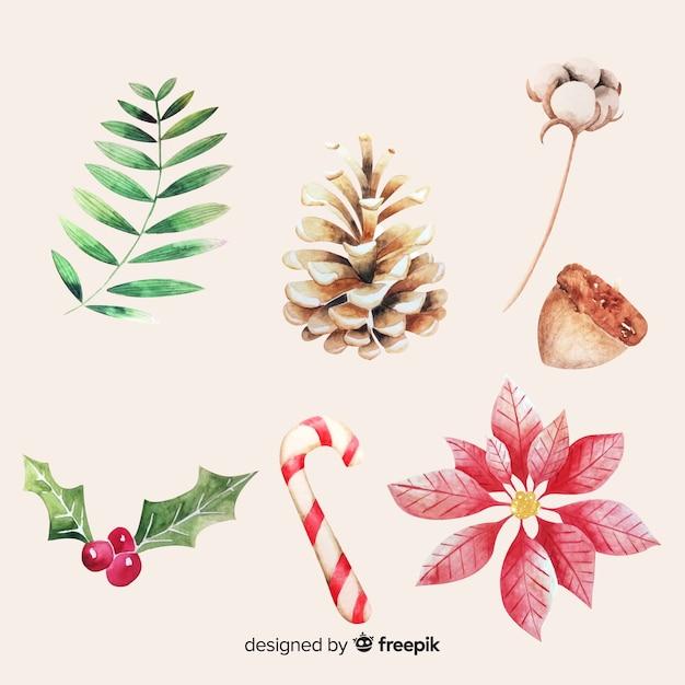 Aquarell weihnachten elementsammlung Kostenlosen Vektoren