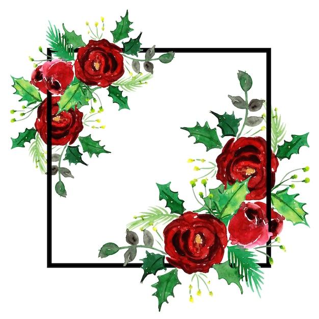 Aquarell weihnachten frame design Premium Vektoren