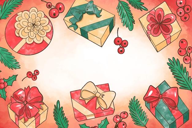 Aquarell weihnachten hintergrundkonzept Kostenlosen Vektoren