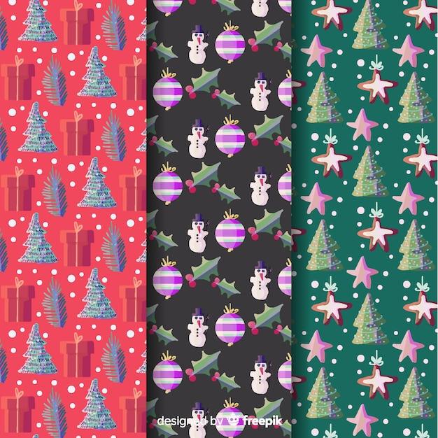 Aquarell weihnachten mustersammlung Kostenlosen Vektoren