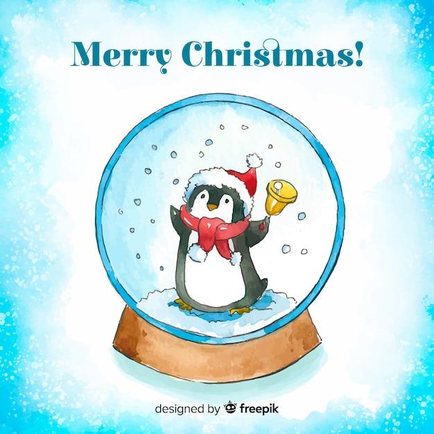 Aquarell weihnachten schneeball globus hintergrund Kostenlosen Vektoren
