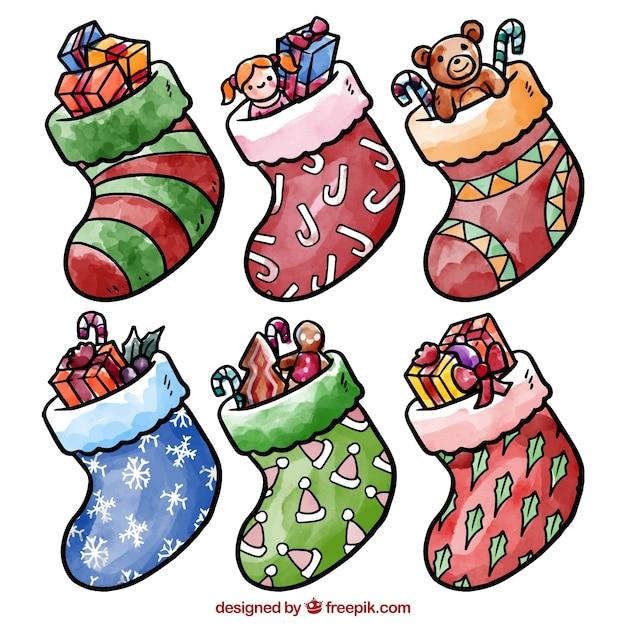 Aquarell weihnachten socken einpacken download der kostenlosen vektor - Aquarell weihnachten ...