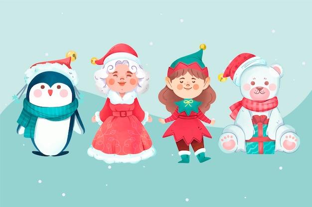 Aquarell weihnachten zeichen gesetzt Kostenlosen Vektoren
