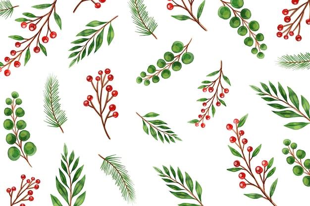 Aquarell weihnachtsbaum äste hintergrund Kostenlosen Vektoren