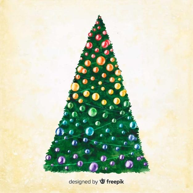 Aquarell weihnachtsbaum auf sepia hintergrund Kostenlosen Vektoren