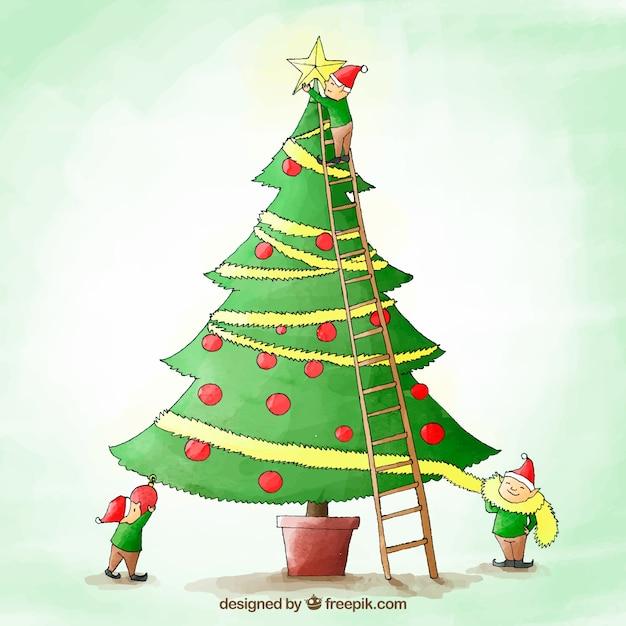 aquarell weihnachtsbaum hintergrund download der. Black Bedroom Furniture Sets. Home Design Ideas