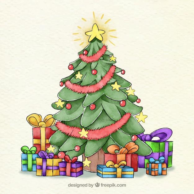 aquarell weihnachtsbaum mit einem stern und kugeln. Black Bedroom Furniture Sets. Home Design Ideas
