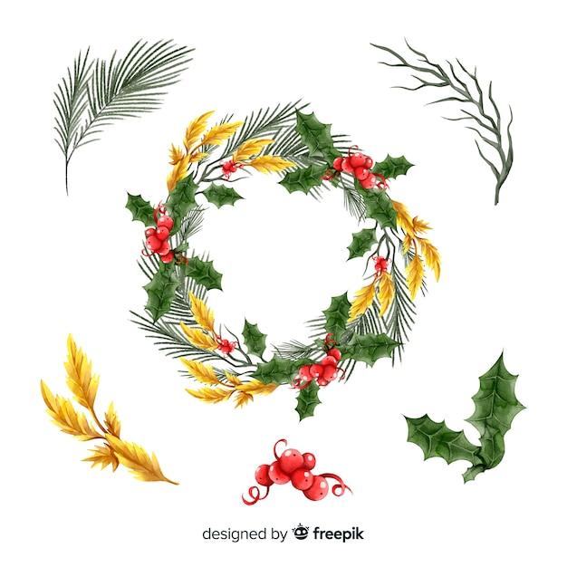 Aquarell weihnachtsblume & kranz sammlung Kostenlosen Vektoren