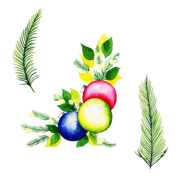 Aquarell-weihnachtselement-sammlung Premium Vektoren
