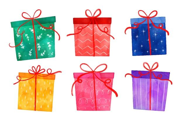 Aquarell weihnachtsgeschenk sammlung Kostenlosen Vektoren