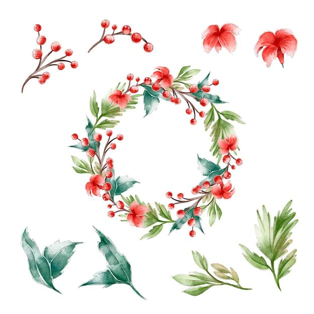 Aquarell weihnachtskranz konzept Kostenlosen Vektoren