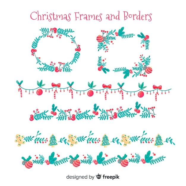 Aquarell weihnachtsrahmen und grenzen Kostenlosen Vektoren