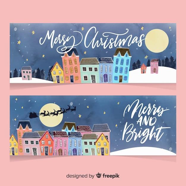 Aquarell weihnachtsstadt banner sammlung Kostenlosen Vektoren