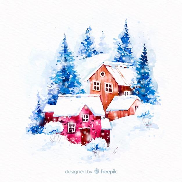 Aquarell weihnachtsstadt Kostenlosen Vektoren
