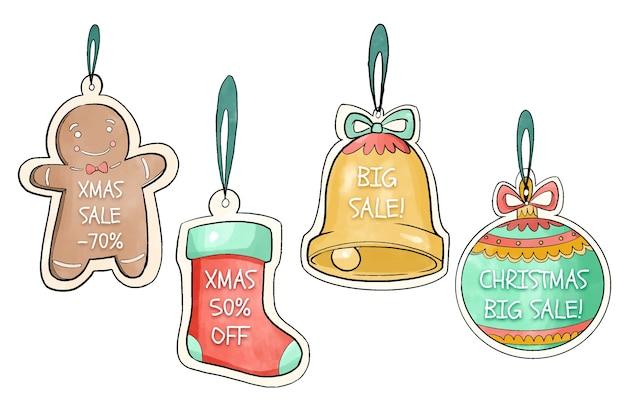Aquarell weihnachtsverkauf tagsammlung Kostenlosen Vektoren