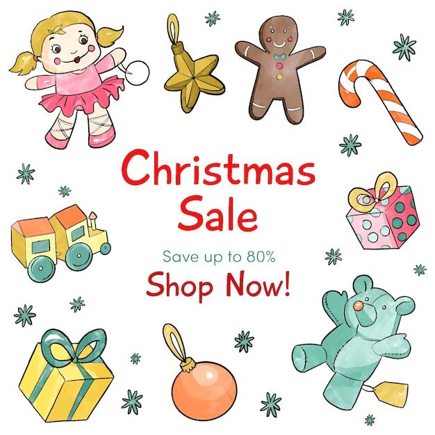 Aquarell weihnachtsverkaufskonzept Kostenlosen Vektoren